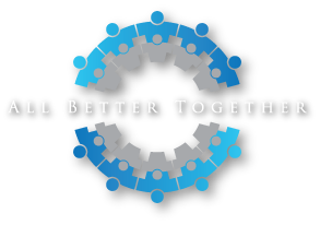 The All Better Together logo is a circle of varying shades of blue and gray, it is made of connected people side by side. This logo illustrates our belief that when families and clinicians work together, applied behavior analysis (ABA) can make life better for children with autism.